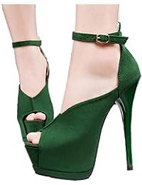Xianshu Plataforma de la correa del tobillo pescado de la boca zapatos de tacón alto sandalias de ante