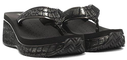 Dunlop Femme Flip Flops avec Wedge Texture Crocodile Black