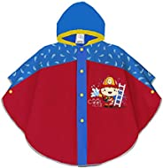 PERLETTI Impermeable Niños 3 4 5 6 Años con Bombero Rojo Azul - Chubasquero Infantiles con Capucha Botones a P