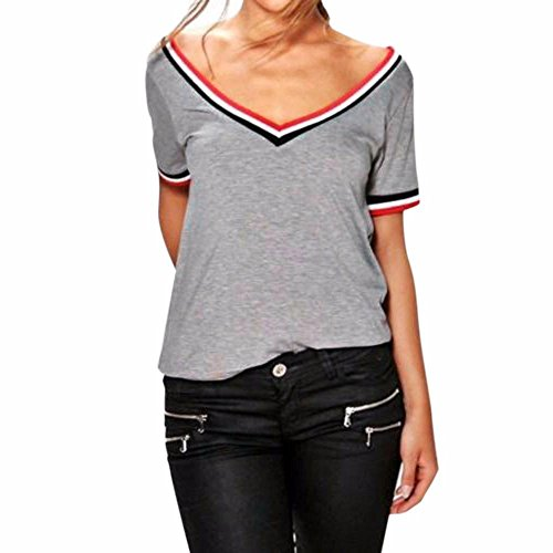 Zarupeng scollo a V T-shirt popolare puro Maglietta sport Donna allentato Top Camicia Moda camicetta Grigio