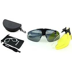 Gafas de seguridad para disparar Milcraft TM, envueltas con una protección a prueba de fragmentación, kit de gafas de sol con set de 3 Lentes intercambiables de policarbonato de alta resistencia UV400, portador de la prescripción (RX), probado en el campo de batalla y de disparo Para Mujer Hombre Unisex