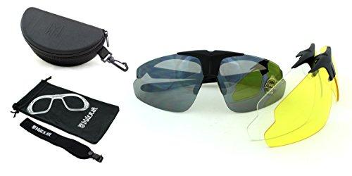 Sonnenbrille / Sportbrille / Schutzbrille / Schießbrille Millcraft TM Splitterfrei Brillensatz im Wrap-Around Design mit drei hochfesten Polycarbonat UV400 Gläser, unter realistischen Bedingungen getestet