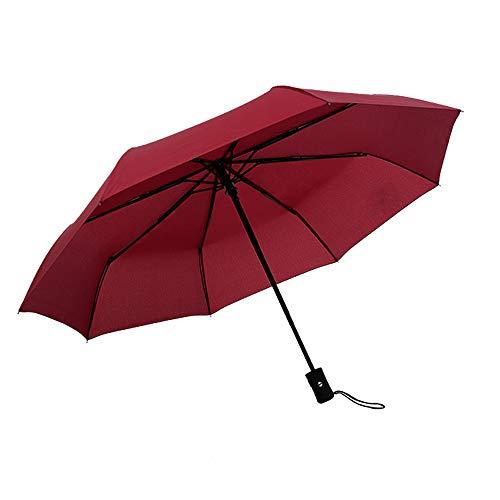 JUNDY Regenschirm, Taschenschirm, Kompakter Falt-Regenschirm, Klein, Leicht, Reiseschirm Automatikschirm einfarbig 8 Knochen dreifach farbig8 98cm