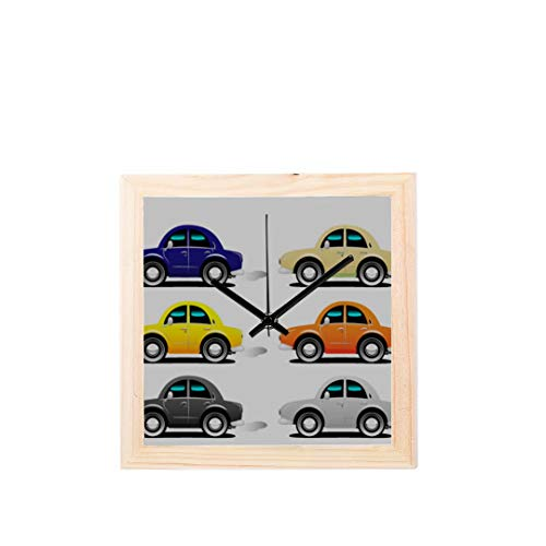 Wietops Auto Cartoon Transport Werkzeug Nicht tickt Platz Stille Holz Diamant Große Display Digital Batterie Wanduhren Malerei Zifferblatt Für Küche Kind Schlafzimmer Home Office Decor - Automobil-wecker