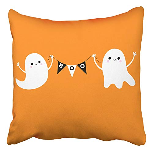 RAINNY Throw Pillow Covers Flying Ghost Spirit Holding Bunting Flag Boo Scary White Ghosts Cute Car Decor Pillowcases Polyester Square Hidden Zipper Home Cushion Decorative Pillowcase 20x20 inch