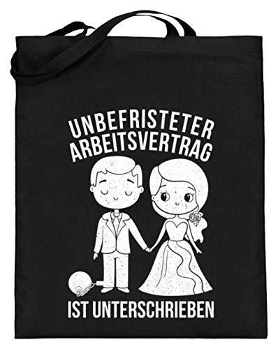 Chorchester Unbefristeter Arbeitsvertrag Hochzeit - Jutebeutel (mit langen Henkeln) -38cm-42cm-Schwarz