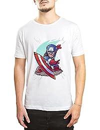 DTAAR Captain America Shield Throw Marvel Comics Avengers Superhero Printed Round Neck Men's & Women's T-Shirt