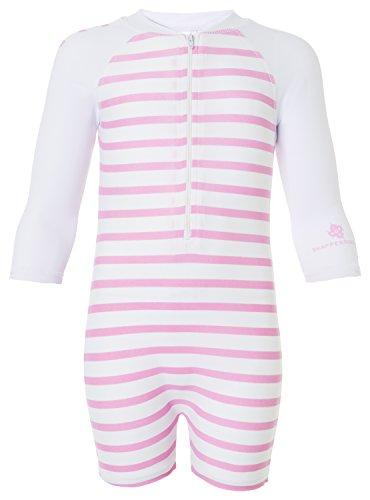 Snapper Rock Baby Mädchen UPF 50+ UV schützend warm Langarm Badeanzug für Kinder Weiß/Rosa 6-12 Monate, 74-80cm (Langarm Uv-schutz Neoprenanzug)