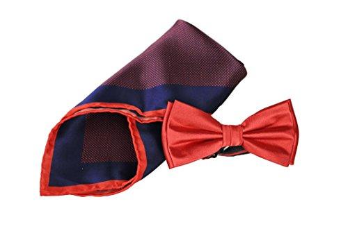 Sir Alex Herren Fliege vorgebunden mit handrolliertem Einstecktuch aus reiner Seide als Set in edler Geschenkbox. Schleife und Kavaliertuch zum Hemd, Anzug oder Sakko. (Rot Dunkelblau) (Vogel Krawatte)