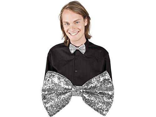 Alsino Party Fliege Bowtie Glitzer Clownfliege Karneval Fasching , wählen:Fliege silber glitzer 53111 (Costume De Mariage Gris)