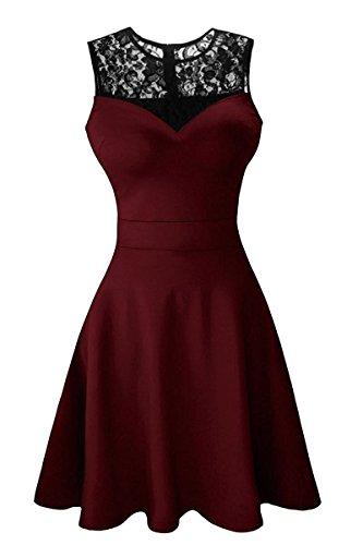Suimiki Damen ärmellos Rundausschnitt falten A-linie Partykleid mini Cocktailkleid kurz Festliche Kleid Wine Red mit schwarzer Spitze