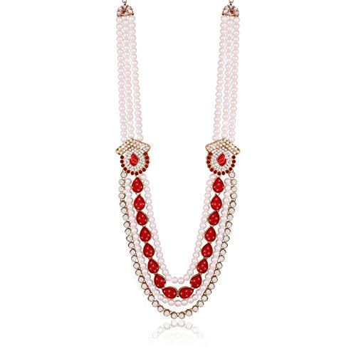 I Jewels Dulha Necklace Groom Moti Mala for Men MLP04R1