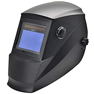 Antra AH6-660-0000 Solar Power Auto Darkening Welding Helmet with AntFi X60-6 Wide Shade Range 4/5-9/9-13 with Grinding Feature Extra lens covers Good for Arc Tig Mig Plasma CSA/ANSI Certified By Colts Lab