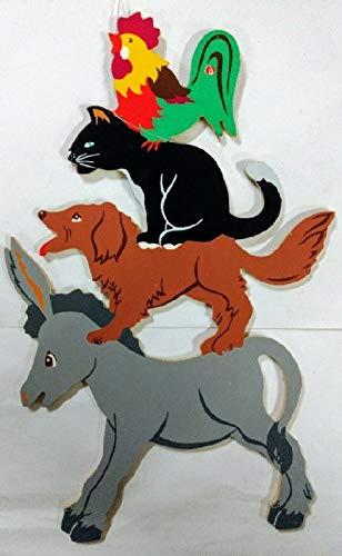 Aufhänger Wandfigur Stadtmusikanten Esel, Hund, Katze, Hahn aus Holz. Ca. 25 cm groß.