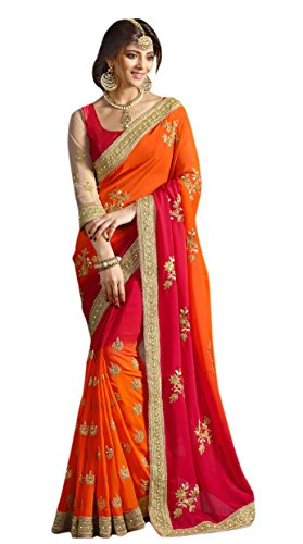 Try n Get's Orange and Red Color Georgette Fancy Designer Saree