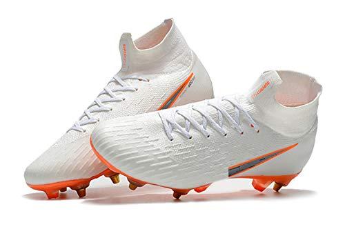 UnderU Herren Fußballschuhe Jungen Fußball Sport Schuhe Weiß Spikes Training Turnschuhe Wettkampf, Weiß - White-high - Größe: 41 EU