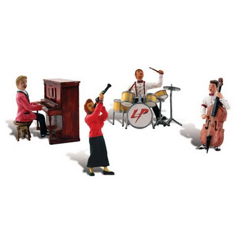 Scenic Accents Music to My Ears 1950's Era Band (4 Figs. w/Instruments) HO Scale Woodland Scenics Woodland Band
