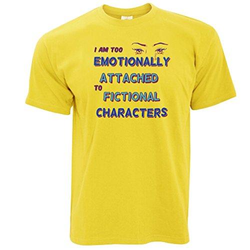 Zu emotional Fiktive Charaktere angebaute Herren T-Shirt Yellow
