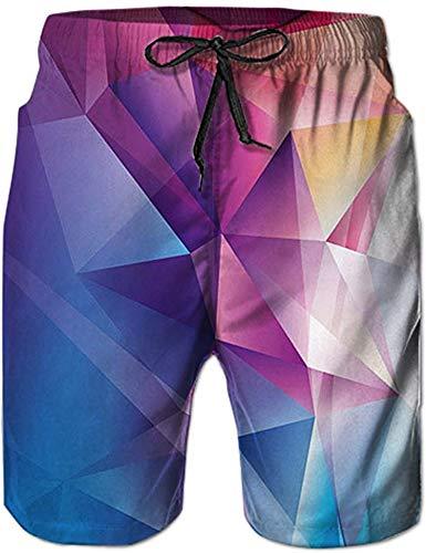 Shorts de Plage Homme Short de Bain à Séchage Rapide Imprimer Géométrie Waterproof Sports Shorts Maillot de Bain S