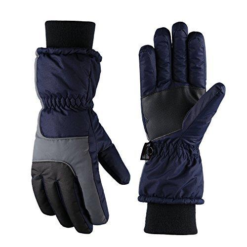 Fazitrip 3M Thinsulate Uomo antivento e impermeabile Guanti invernali guanti - guanti Outdoor, sci/snowboard/Guanti da equitazione con guanti dita caldi (Navy Blue, L)