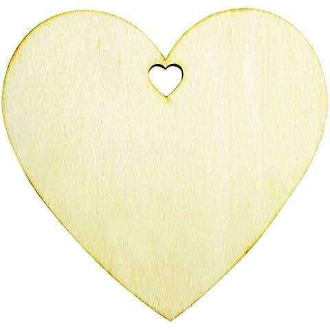 50 Etiquetas de Artesanía en Forma de Corazón Planas Placas Decorativas de 100mm de Kurtzy TM