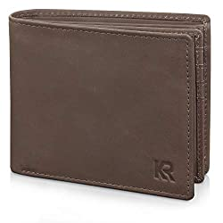 KRONIFY RFID Geldbeutel Männer aus Büffelleder in Geschenkbox Portemonnaie Herren Geldbörse Herren Leder Braun Brieftasche Herrengeldbeutel NFC Schutz