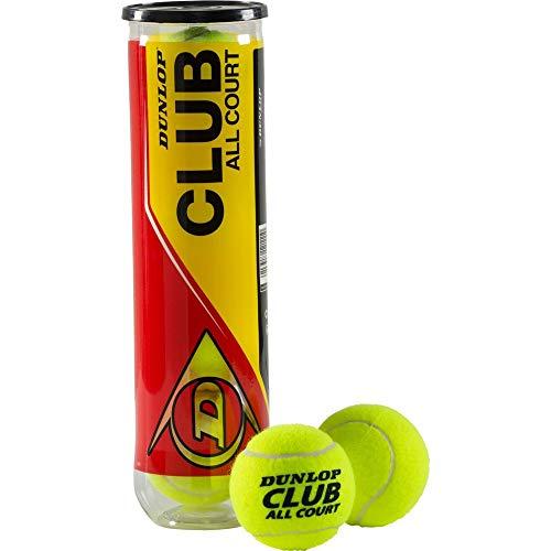 DUNLOP Tennisball Club All Court 4er Dose, Gelb, One - Dunlop Dose Tennisbälle 4er