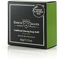 Edwin Jagger 99.9% Natural Aloe Vera Rasierseife in Reisedose, 65 g, 1er Pack (1 x 65 g)