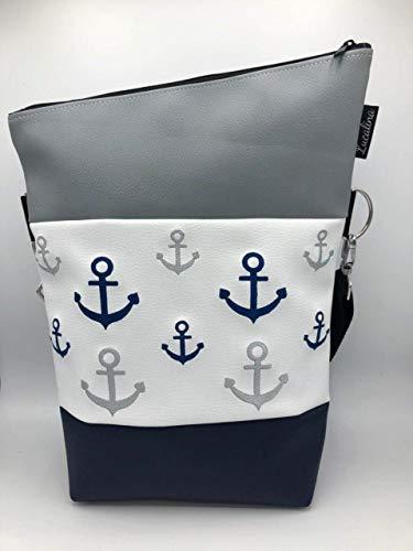 Handtasche viele kleine Anker Maritim Tasche Foldover Schultertasche