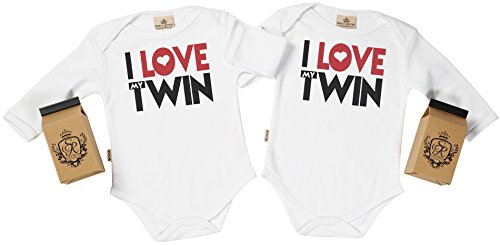 SR - estuche de presentación - I Love My Twin body gemelos bebé - ropa para gemelos bebé - regalo para gemelos bebé, Blanco, 12-18 meses