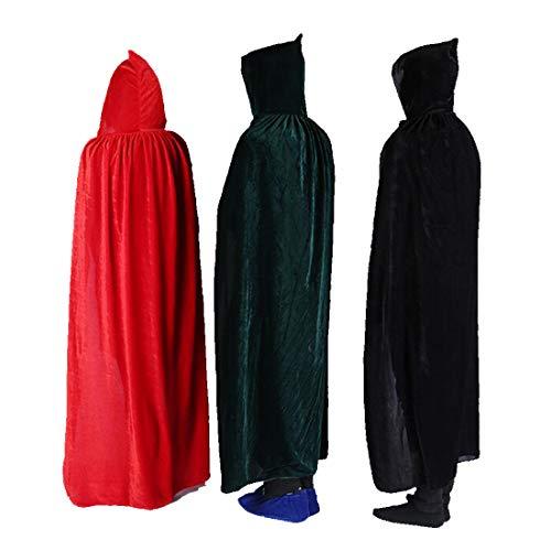 FLYA Halloween Death Cape Umhang Erwachsene 165CM Velvet Hooded Cloak Vampire Masquerade Hooded Robe,Red-165CM