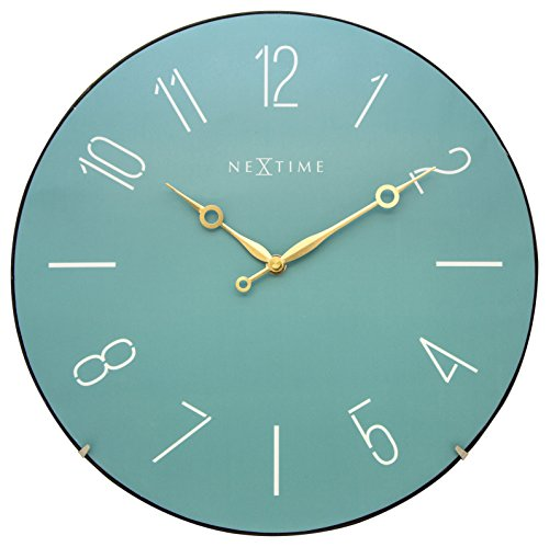 NeXtime Reloj de pared 'TRENDY DOME', muy silencioso, redondo, azul turquesa, ø 35 cm
