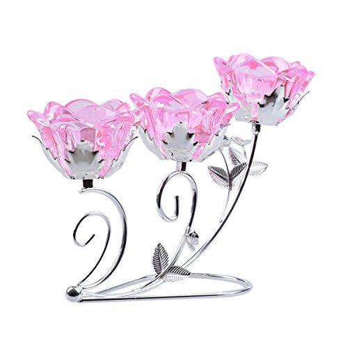 LONGWIN Kerzenhalter Glas Kandelaber für Hochzeits-Tisch, rose, #3 -