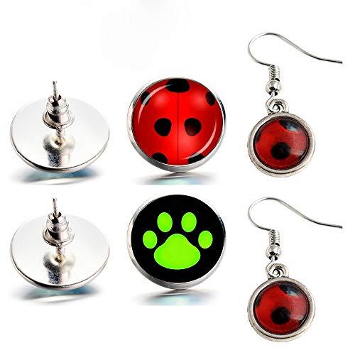 Lady Bug Ohrringe, Stechschmuck Ohrstecker Handmade, Miraculous Polka Dots Cat Noir Silber Farbe Ohrringe, Lady Bug kostüm kinder 12mm 3 Paar
