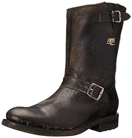 FRYE Men's Stone Engineer Boot, Black Polished Stonewash, 13 M