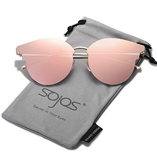 SOJOS Katzenaugen Sonnenbrille Runde Schick Groß Verspiegelt Modernem Design Cateye SJ1055S mit Gold/Rosa verspiegelt mit Lederbox