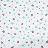 Erstklassiger Baumwollstoff 0,5lfm, 100% Baumwolle, modische Muster, Breite 160cm – Sterne (Sterne mint/weiß/grau)