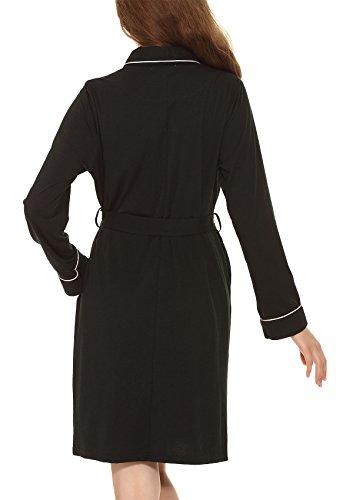 Yulee Damen Morgenmantel Kimono Baumwolle Nachtwäsche in europäischer Größen Schwarz