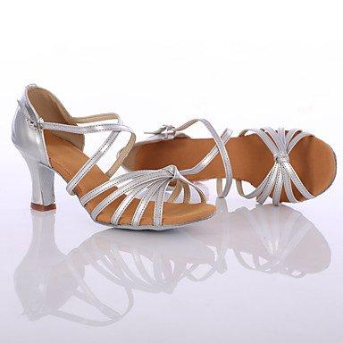 Silence @ Chaussures de danse pour femme en satin/similicuir satiné/similicuir latine/danse Sneakers talons Talon Silver