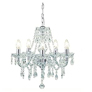 Tuscany 5 Light Ceiling Chandelier Acrylic Droplets Clear from Kliving