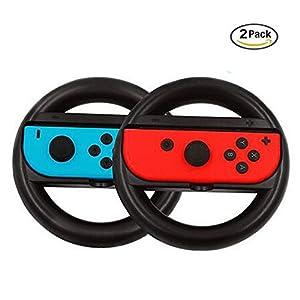 LeSB Lenkrad für Nintendo Switch Joy-Con Controller/2 Stück/Schwarz