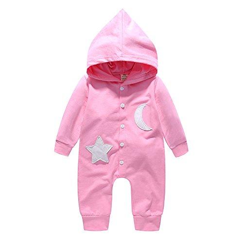 LEXUPE Prämie Reine Baumwolle Set Kleidung, Neugeborenes Baby Strampler Star Kleidung Sets, Hosen Tops Hut Cute Jumpsuit Outfit Body(Rosa,90)