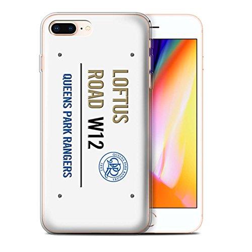 Officiel Queens Park Rangers FC Coque / Etui Gel TPU pour Apple iPhone 8 Plus / Blanc/Bleu Design / QPR Loftus Road Signe Collection Blanc/Or