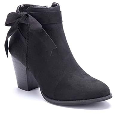 cbe89368c5b71e Klassisch Günstiger Preis Billig Verkauf Browse Damen Schuhe Klassische  Stiefeletten Stiefel Boots Schwarz Blockabsatz Zierschleife 8