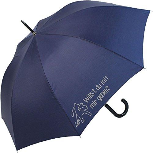 XL Stockschirm für Hunde-Liebhaber und Gassi-Geher - reflektierend Bedruckt Willst Du mit Mir Gehen - Navy-blau