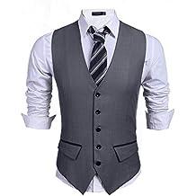 Wixens Hombre Chaleco Slim Fit Traje de Vestir Sin Manga Casual V-Neck  Blazers 6a11431481a0