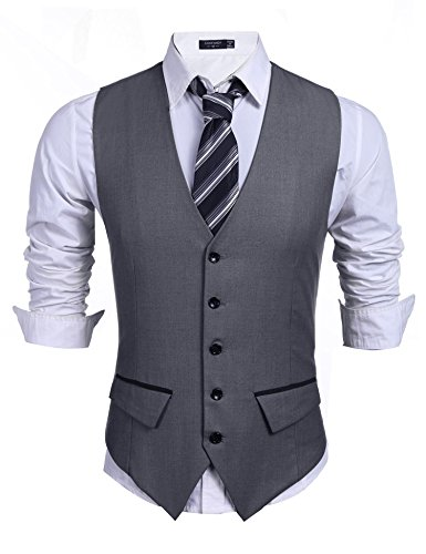 Wixens Homme Gilet Costume Slim Fit Veste Casual et Business