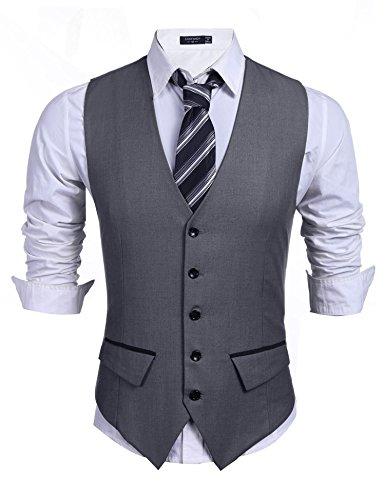 Herren Einreiher mit 5 Knöpfen Weste Anzugweste Businessweste Anzug V-Ausschnit Geschäftsweste Business Hochzeit Vintage Kurzweste Slim fit Grau XL (5-knopf-weste)