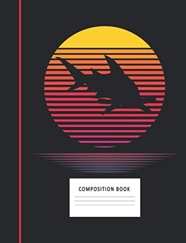 Composition Book: Hammerhead Shark 200 Wide Ruled Lined Pages Retro Vaporwave Sunset Vintage Decor 80s Style Notebook, Writing Pad & Practice Journal ... Organizer, Homeschool, College & University (Vintage-pad)