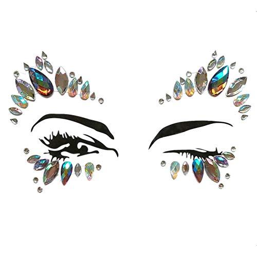 LINNUO Gesicht Edelsteine Haare Gesichts Aufkleber Strass Juwelen Temporäre Tattoos Party Schmucksteine Selbstklebend Bindi Musikfestival Body Tattoo (#6Als Bild,One ()